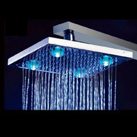"8"" Inch Temperature Control Colors Square Copper 4 LEDs Fixed Rainfall LED Shower Head Silver"