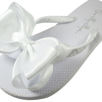 Wedding Flip Flops, Classic Bow White Flip Flops for Bride, Bridesmaids & Flower Girls