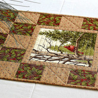 Christmas Table Runner, Cardinals Holly Leaves, Winter Table Topper, Country Home Decor, Quiltsy Handmade