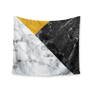 "KESS Original ""Geo Marble and Gold"" Digital Geometric Wall Tapestry"