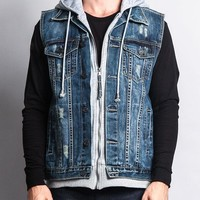 Layered Hooded Denim Vest