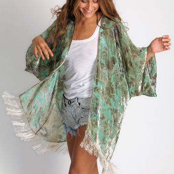 Myee Carlyle Fringed Flower Kimono in emerald waters: Soleilblue.com