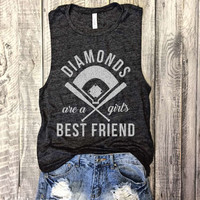 DIAMONDS Are A Girl's Best Friend, Baseball Muscle Tee in Charcoal/White Workout Top, Muscle Tank, Baseball Mom,Hit and Steal,Baseball Shirt