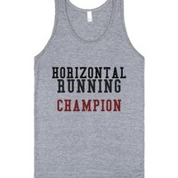 Horizontal Running Champion Tank-Unisex Athletic Grey Tank