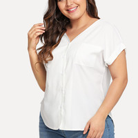 Plus V Neckline Chest Pocket Cuffed Blouse