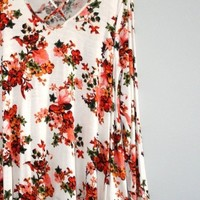 Welsh Cross Front Floral Tunic - Ivory FINAL SALE!