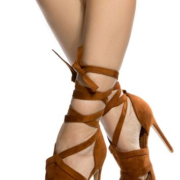 Chestnut Faux Suede Wrap Around Cut Out Heels @ Cicihot Heel Shoes online store sales:Stiletto Heel Shoes,High Heel Pumps,Womens High Heel Shoes,Prom Shoes,Summer Shoes,Spring Shoes,Spool Heel,Womens Dress Shoes