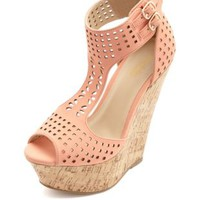 Laser Cut-Out T-Strap Platform Wedge Sandals - Peach