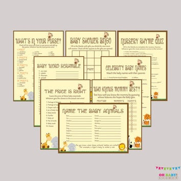 Baby Shower Safari Games Package - EIGHT Printable Games: Bingo, Price is Right, Purse Game, etc - Safari Baby Shower Games - BS0001-N