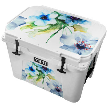 Blue Flower Watercolor Paint Skin for the Yeti Tundra Cooler