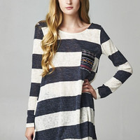 Sailor Stripes Knit Tunic Top - Navy