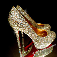 New Shimmery Luxury Custom Made Wedding Pumps