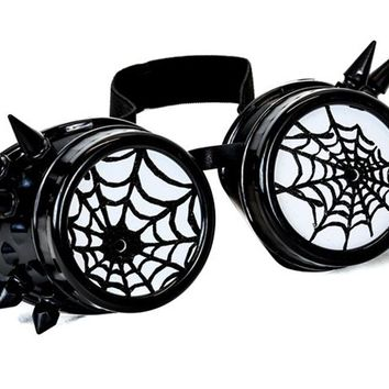 Black Goggles with Black Spiderwebs Cobwebs & Spikes Goth Cyber Cosplay