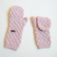 Powder Pink Convertible Mittens, Fingerless Gloves, MADE TO ORDER.
