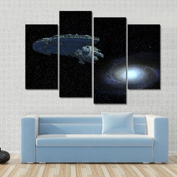 Spaceship Moving Away From Galaxy Multi Panel Canvas Wall Art