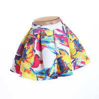 Fun&Fun - Girls Party Skirt With Bright Floral Print and Pleats - 44