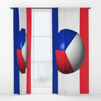 France Flag Sphere Window Curtains by Henrik Lehnerer