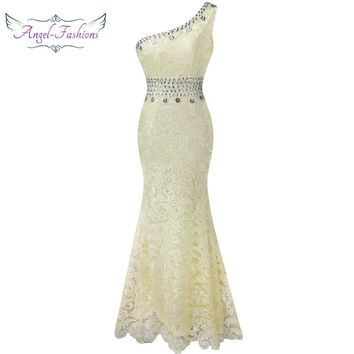 Angel-fashions One Shoulder See Through Crystal  Lace Wedding Dress Apricot 107