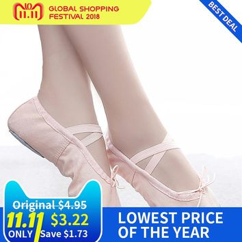 Sport Ballet Shoes Women Girl Soft Sole Bowtie Dance Shoes Canvas Cotton Yoga Shoes Flats Pink Ladies Practice Shoes Sneakers