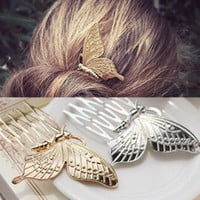 1PC Lovely Butterfly Hair Combs Silver / Metal Hairwear Jewelry Hairpin Headdress Hair Clip  Hair Accessories