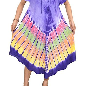 Mogul Womens Dress Embroidered Half Sleeves Tie Dye Caftan Cover up L