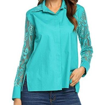 Unibelle Womens Long Sleeve Button Down Shirt Patchwork Lace Shirt Blouse Tops