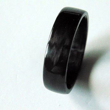 Carbon Fiber Wedding band Handwrapped Carbon ring