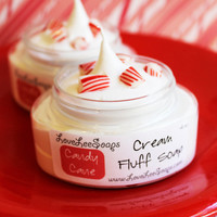Candy Cane Cream Fluff Soap (4 oz.)