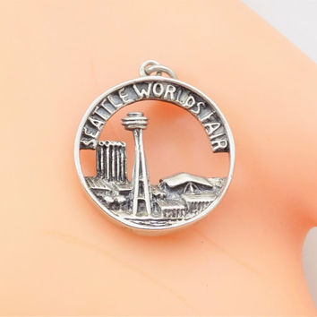 1962 Sterling Silver Cellini World's Fair Charm, Space Needle, Vintage Charms