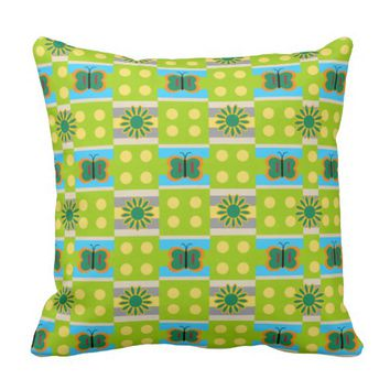 Flowers, Dots, and Butterflies Throw Pillow