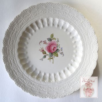 Vintage Pink Red Transfer Ware Plate Spode Jewel Exquisite Lace Border Rose Cabbage Roses