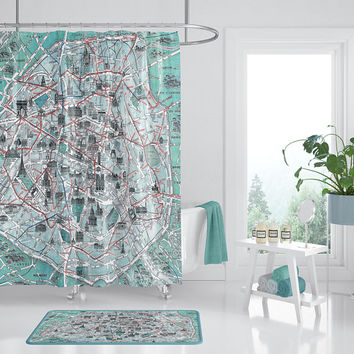 Paris Monument Map Shower Curtain - Eiffel Tower, Arc de Triomphe  French Travel Inspired  Home Decor,  cottage chic Bathroom