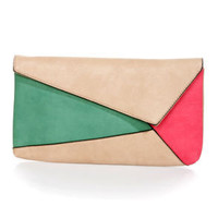 Edge Allegiance Beige Color Block Clutch
