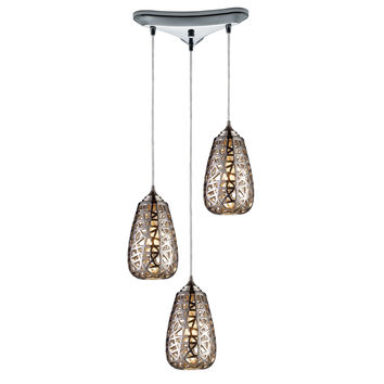 Nestor 3 Light Pendant In Polished Chrome And Chrome Plated Ceramic Shade
