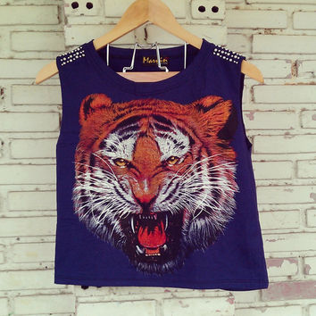 Studded Tiger Print Tank Top in Navy Blue