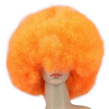 Super Big Synthetic Orange Afro Wig Cosplay Unisex Curly Cosplay Wig Party