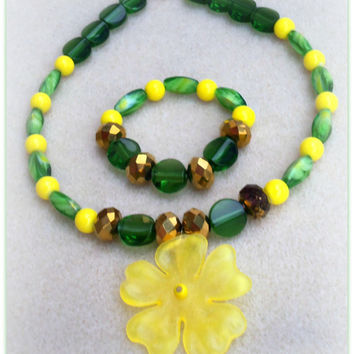 Yellow Flower-Little Ladies-Girls Jewelry Set-Kids Jewelry-Children-Little Girls-Trending-Girls Handmade Necklace,& Bracelet-Gifts for Girls