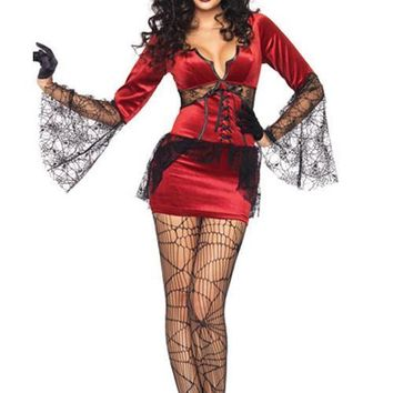 Claret Sawtooth Horn Sleeve Women Halloween Party Costumes