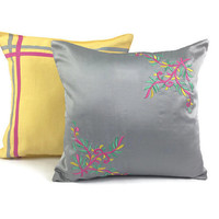 Pillow Set of Two, Embroidered Pillow, Appliqué Pillow, Grey cushion, Yellow Pillow, 16X16 Pillow, Boho Pillow, Festive Decor, Sofa Pillow