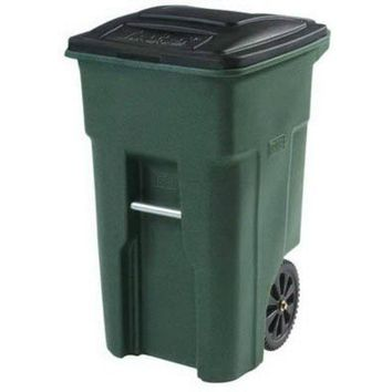 Toter® 25532-07GRS 2-Wheeled Trash Can w/ Attached Lid, Greenstone, 32-Gallon
