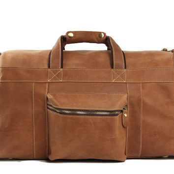 Copenhagen Leather Travel Bag in Light Brown