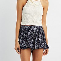 FLORAL PRINT RUFFLED SHORTS