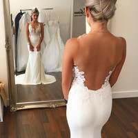 Mermaid Wedding Dress With Lace Appliques Jewel Neck Tank Sleeveless Sheers On Back See Through Wedding Dresses Bridal Gown 2016