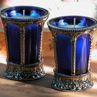 Witches Gothic Cobalt Glass and Nickel Chalice Cup by whitemagic