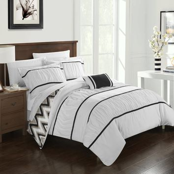 Chic Home 4-Piece Brooks Pleated & Ruffled with Chevron REVERSIBLE Backing Full/Queen Comforter Set White Shams and Decorative Pillows included