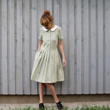 Linen Dress - Peter Pan Collar Dress - Midi Dress - Classic Dress - Handmade Dress - Pleated Skirt Dress - Handmade by OFFON