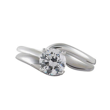 Vivadore Bypass Diamond Solitaire Engagement Ring