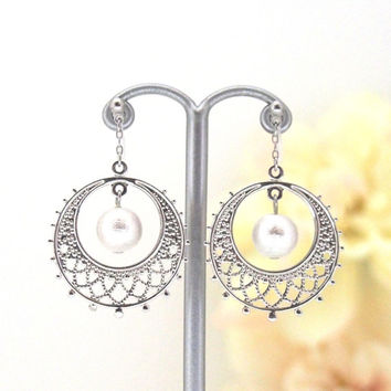 Popular in Japan! Silver Circle Motif and White Japanese Cotton Pearl Invisible Clip on Earrings, Wedding Pearl Clip-on Earrings,