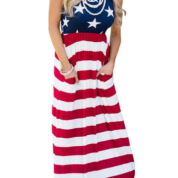 Sleeveless Country Love American Flag Maxi Dress