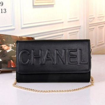 VONE05E Chanel' Women Simple Fashion Flip Solid Color Embossed Letter Metal Chain Single Shoulder Messenger Bag